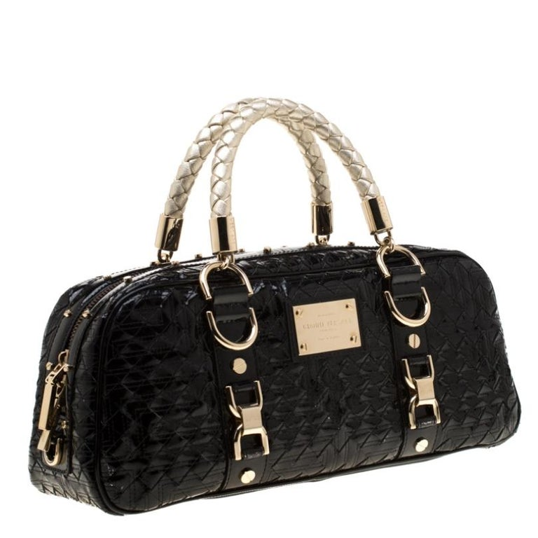 Women's Versace Black Woven Patent Leather Snap Out Of It Satchel For Sale