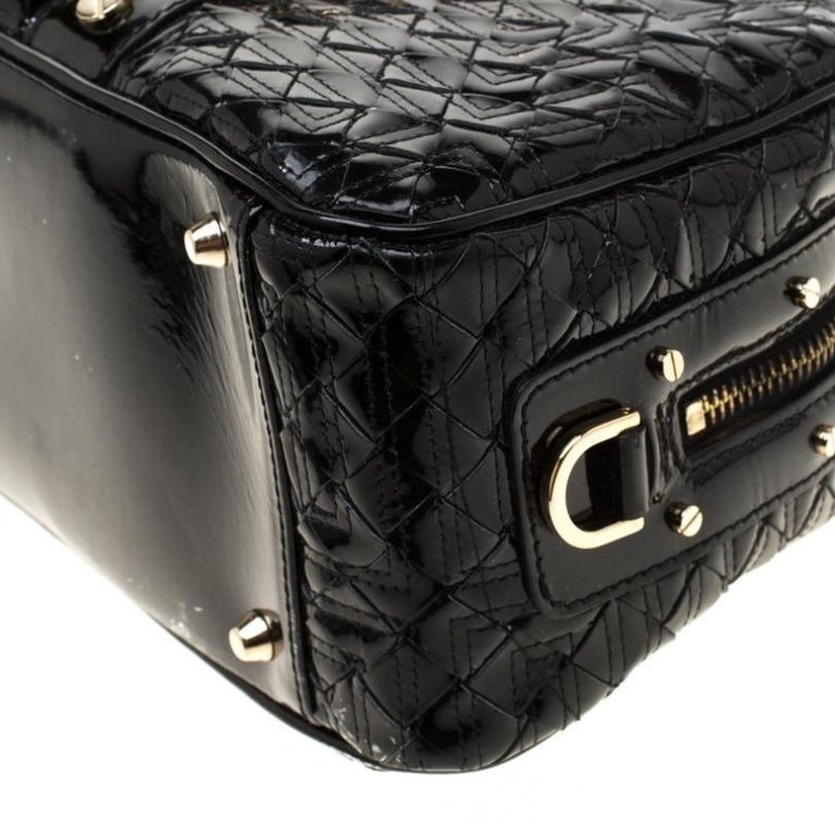 Versace Black Woven Patent Leather Snap Out Of It Satchel For Sale 2