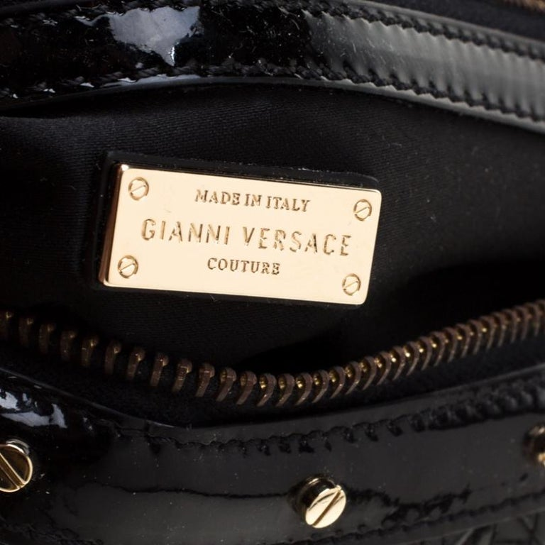 Versace Black Woven Patent Leather Snap Out Of It Satchel For Sale 3