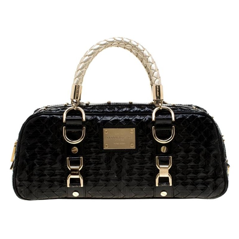 Versace Black Woven Patent Leather Snap Out Of It Satchel For Sale