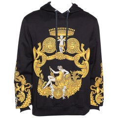 Versace Black & Yellow Baroque Print Cotton Hoodie XL