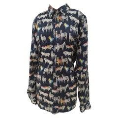 Versace Blu Navy Zebra Cotton Shirt