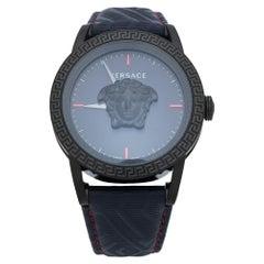Versace Blue Black Ion Plated Palazzo Empire VERD00118 Men's Wristwatch 43 mm