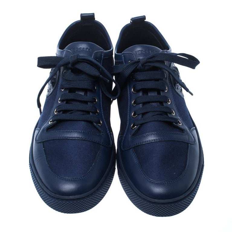 Black Versace Blue Canvas and Leather Medusa Head Low Top Sneakers Size 43.5 For Sale