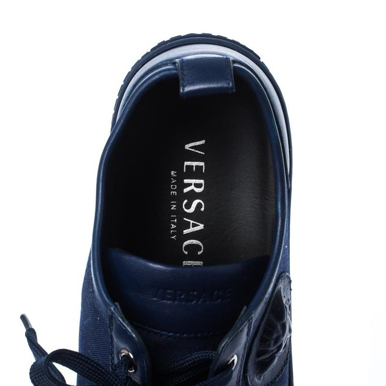 Versace Blue Canvas and Leather Medusa Head Low Top Sneakers Size 43.5 For Sale 1