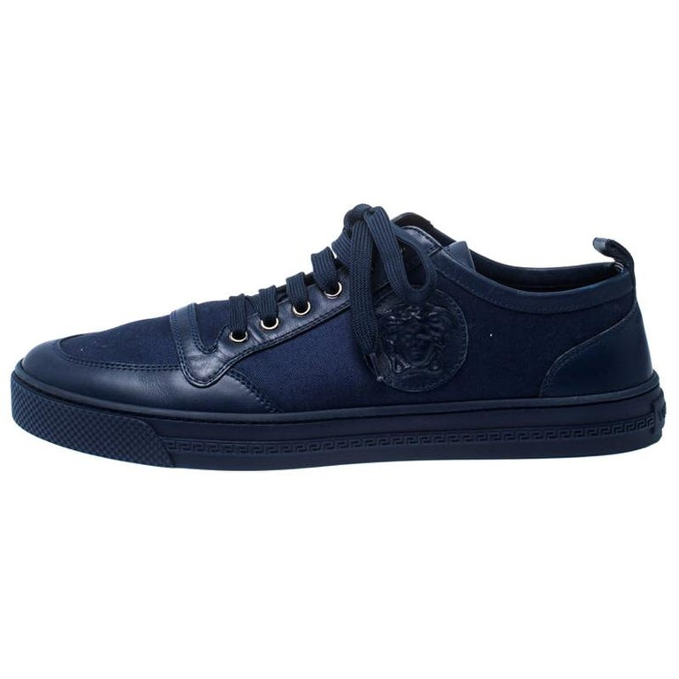 Versace Blue Canvas and Leather Medusa Head Low Top Sneakers Size 43.5 For Sale
