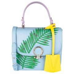 Versace Blue DV One Palm Frond Studded Leather Top Handle Bag w/ Shoulder Strap