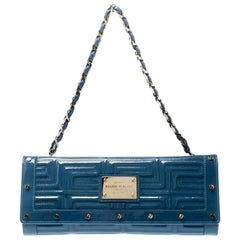 Versace Blue Embossed Patent Leather Flap Shoulder Bag