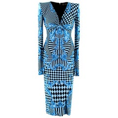 Versace Blue Harlequin Baroque Print Draped Dress - Size US 2