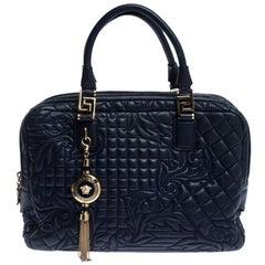 Versace Blue Leather Demetra Vanitas Top Handle Bag
