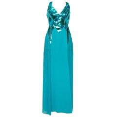 Versace Blue Leather Embellished & Silk Front Slit Detail Dress M
