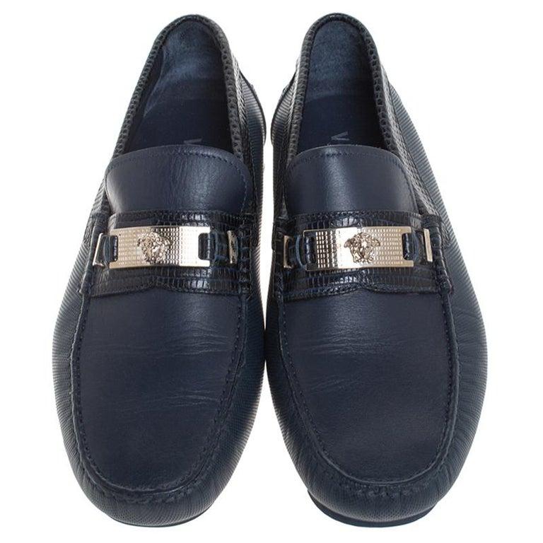 Black Versace Blue Leather Medusa Detail Slip On Loafers Size 41 For Sale