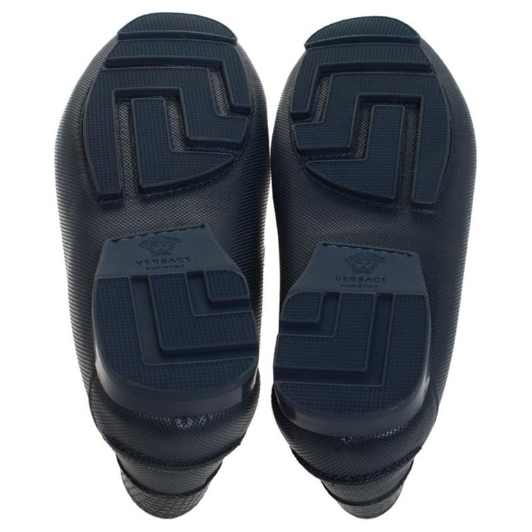 Versace Blue Leather Medusa Detail Slip On Loafers Size 41 For Sale 2