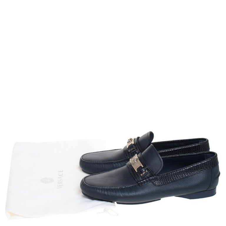 Versace Blue Leather Medusa Detail Slip On Loafers Size 41 For Sale 3