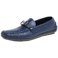 Versace Blue Leather Medusa Slip On Loafers Size 46