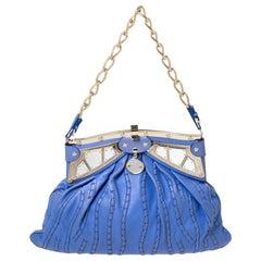 Versace Blue Leather Mirror Frame Chain Shoulder Bag