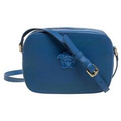 Versace Blue Leather Palazzo Medusa Camera Crossbody Bag