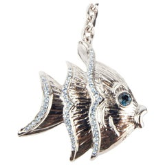 Versace Blue Rhinestone Studded Metal Angel Fish Key Chain