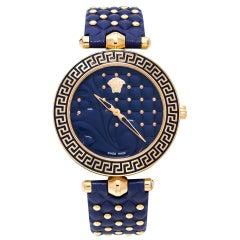 Versace Blue Rose Gold Plated Vanitas K7Q Women's Wristwatch 40 mm