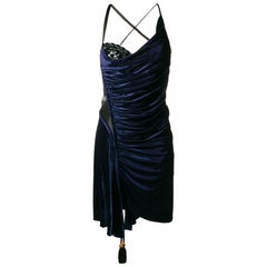Versace Blue Silk Velvet Asymmetrical Fitted Cocktail Dress Size 40