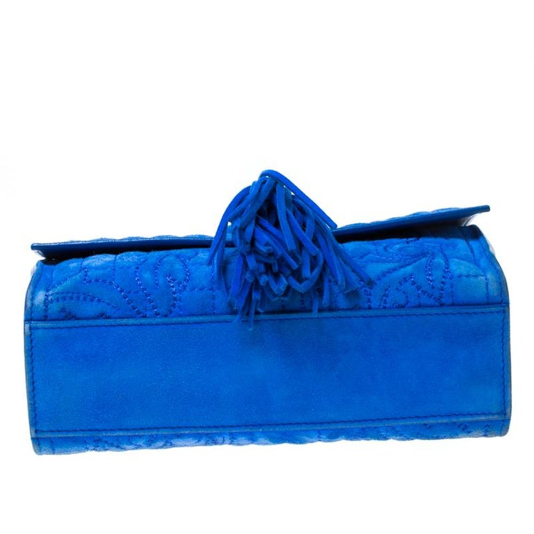 Versace Blue Suede Vanitas Crossbody Bag For Sale 6