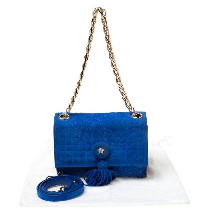 Versace Blue Suede Vanitas Crossbody Bag For Sale 7