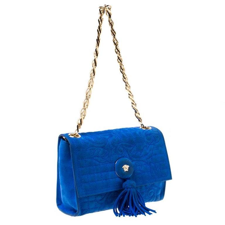 Versace Blue Suede Vanitas Crossbody Bag In Good Condition For Sale In Dubai, Al Qouz 2