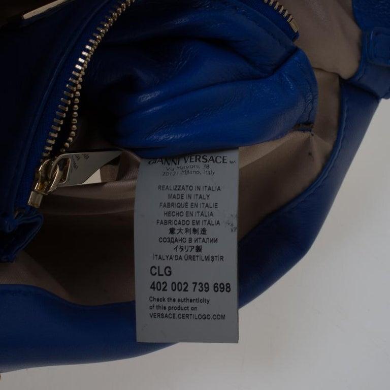 Women's Versace Blue Suede Vanitas Crossbody Bag For Sale