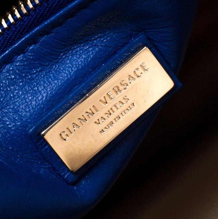 Versace Blue Suede Vanitas Crossbody Bag For Sale 1