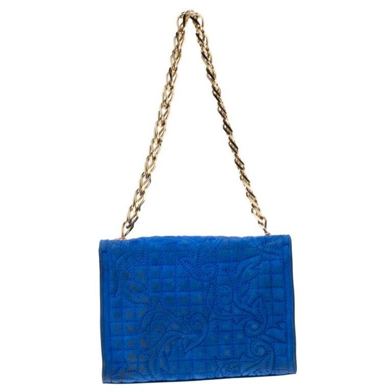 Versace Blue Suede Vanitas Crossbody Bag For Sale 3