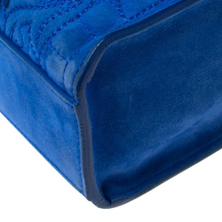 Versace Blue Suede Vanitas Crossbody Bag For Sale 4