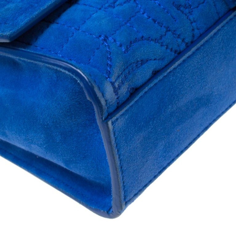 Versace Blue Suede Vanitas Crossbody Bag For Sale 5