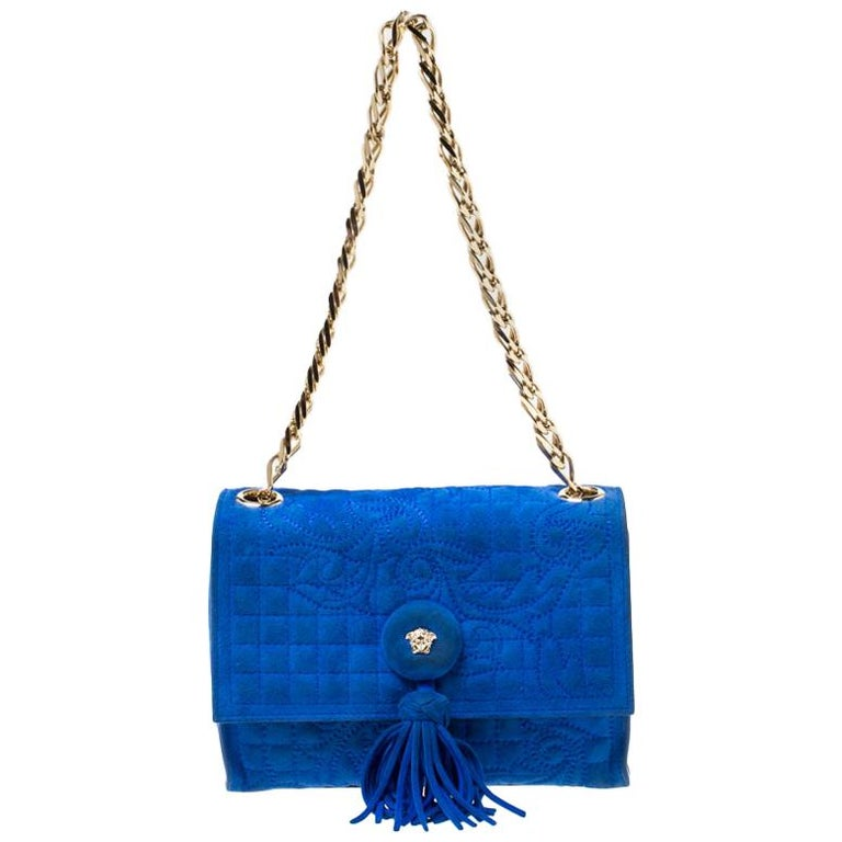 Versace Blue Suede Vanitas Crossbody Bag For Sale