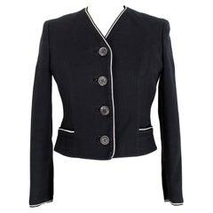 Versace Blue White Cotton Pique Classic Jacket