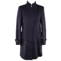 Versace Blue Wool Coat 2008 Fall Winter Collection Size 40