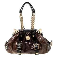 Versace Brown/Black Croc Embossed Patent Leather Madonna Boston Bag