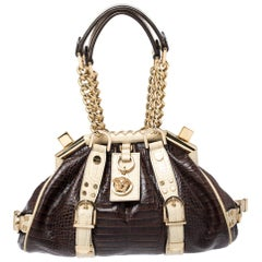 Versace Brown/Cream Croc Embossed Leather Madonna Boston Bag