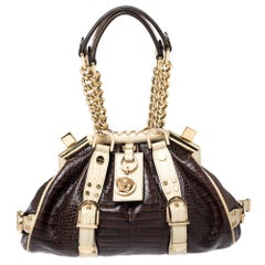 Versace Brown/Cream Croc Embossed Leather Madonna Boston Bag