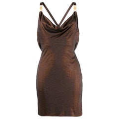 Versace Brown Crystal Embellished Open Back Draped Mini Cocktail Dress Size 40