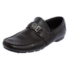 Versace Brown Leather Medusa Embellished Slip On Loafers 41