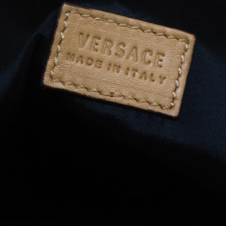 Versace Brown Leather Medusa Medallion Tote For Sale 6