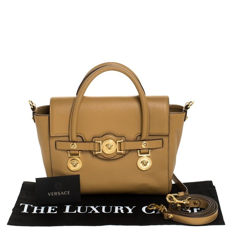 Versace Brown Leather Medusa Medallion Tote For Sale 7