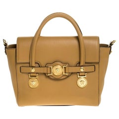 Versace Brown Leather Medusa Medallion Tote