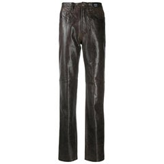 Versace Brown Slim Leather Trousers