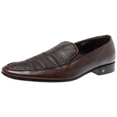 Versace Brown Woven Leather Slip On Loafers Size 46