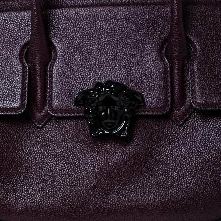 Versace Burgundy Leather Palazzo Empire Tote For Sale 5