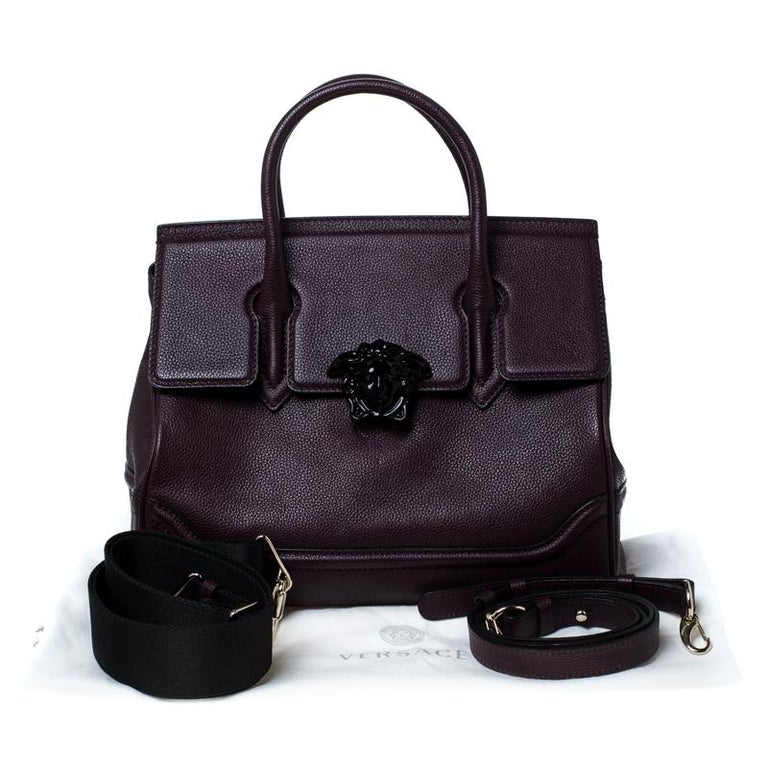 Versace Burgundy Leather Palazzo Empire Tote For Sale 6