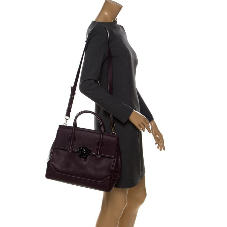 Black Versace Burgundy Leather Palazzo Empire Tote For Sale