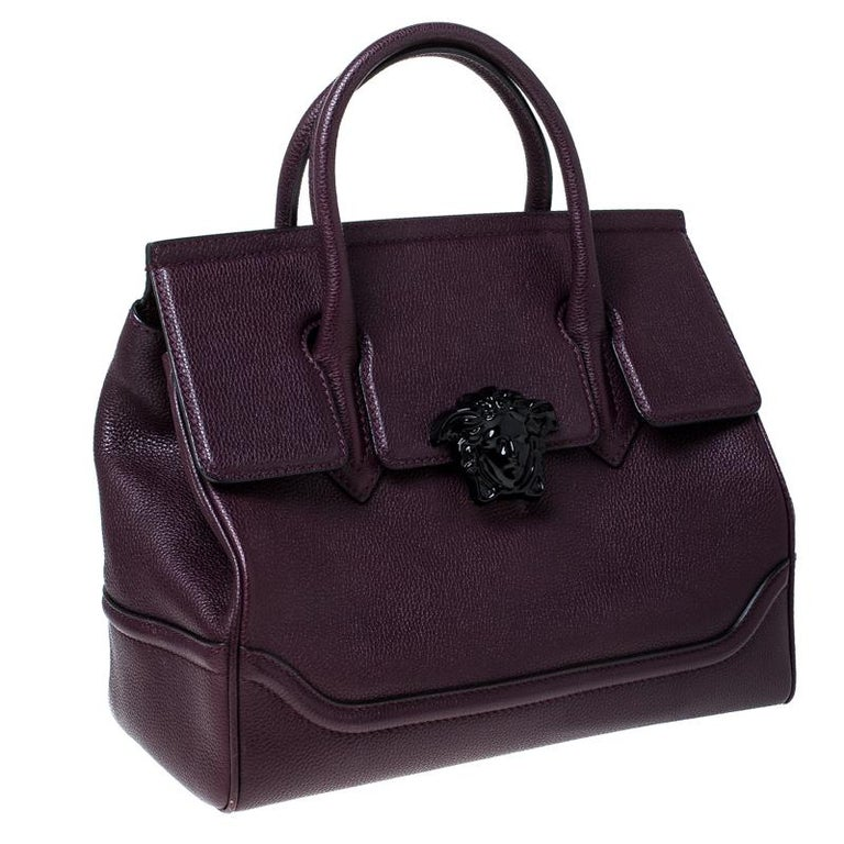 Versace Burgundy Leather Palazzo Empire Tote For Sale 4