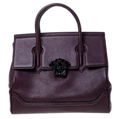 Versace Burgundy Leather Palazzo Empire Tote